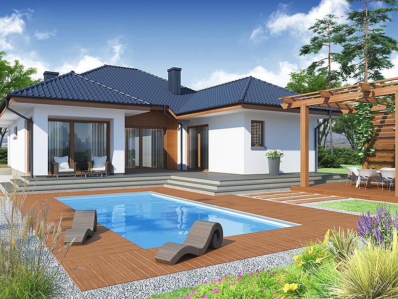 Casa cu parer si piscina proiect functional