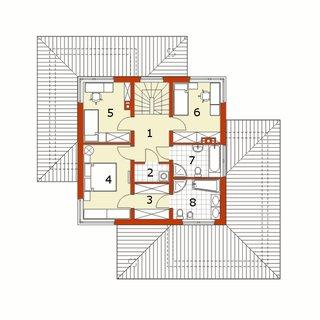 Plan etaj casa cu garaj dublu
