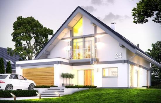 Proiect de casa eleganta cu mansarda inalta