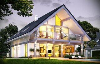 Casa moderna cu perete din sticla