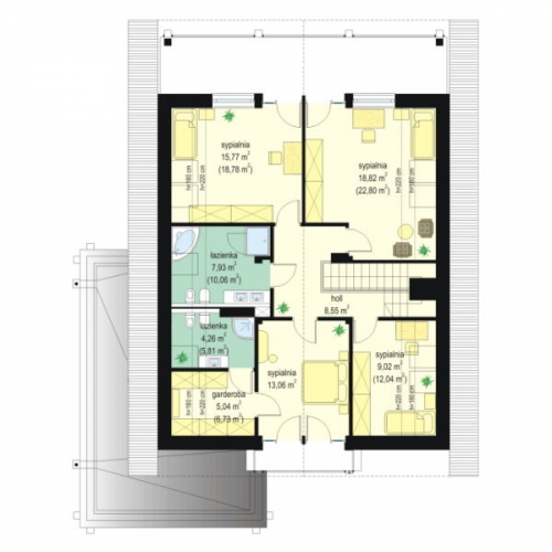 Plan mansarda casa moderna cu perete din sticla