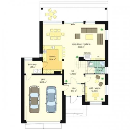 Plan parter casa moderna cu living spatios
