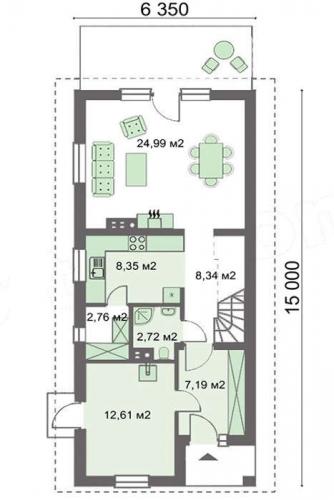 Plan parter casa cu 4 dormitoare si living