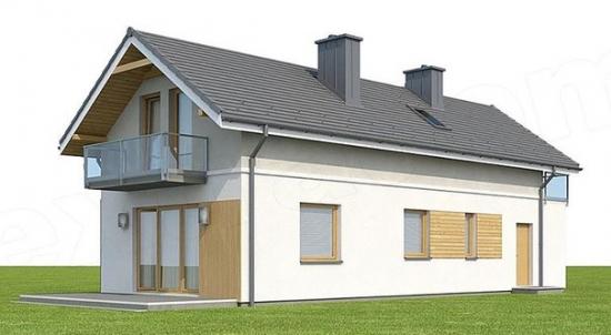 Vedere dreapta spate casa cu 4 dormitoare si living