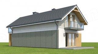 Vedere spate casa cu 4 dormitoare si living