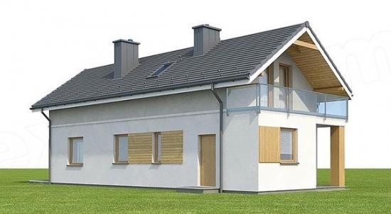 Vedere stanga casa cu 4 dormitoare si living