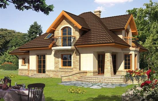 Casa cu mansarda si terasa in spate