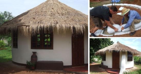 O casa facuta din saci cu pamant - etape de constructie pas cu pas