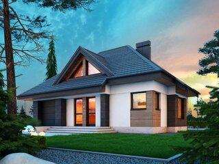 Casa moderna cu mansarda si elemente din lemn pe colturi