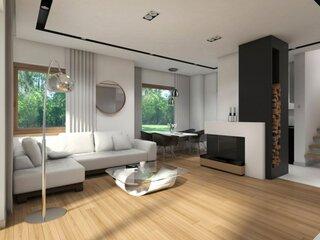 Living amenajat in alb negru si esenta de lemn
