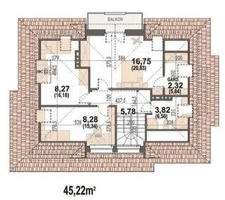 Plan mansarda  48 mp