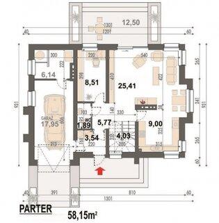 Plan parter casa cu mansarda 58 mp