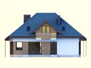 Vedere laterala fatada casa cu lemn