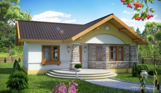 O frumoasa casa fara etaj pentru o familie de 2-3 persoane - proiect complet