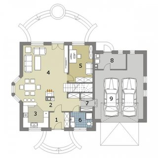 Plan parter casa cu garaj dublu