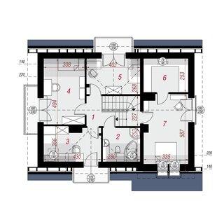 Plan mansarda cu suprafata 60 mp