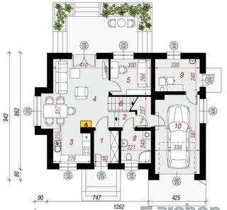 Plan parter de casa cu suprafata 83 mp