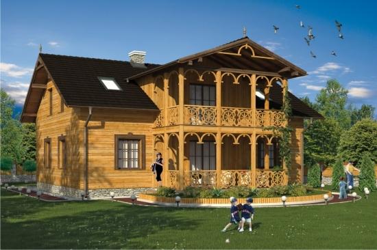Proiect de casa din lemn in stil conac - rafinament desavarsit