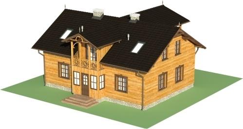 Casa din lemn cu suprafata de 180 mp