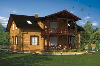 Casa din lemn cu veranda