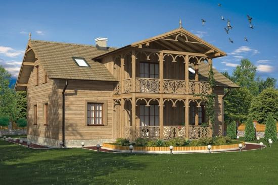 Casa stil conac din lemn
