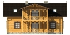Vedere fata casa din lemn