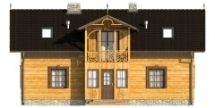 Vedere spate casa din lemn