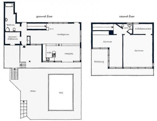 Proiect de casa cu etaj cu terasa cu piscina