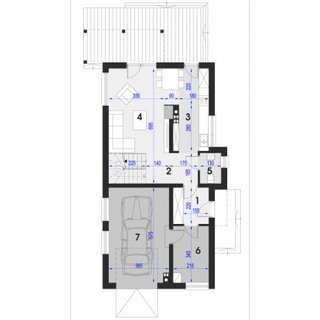 Plan parter casa cu 3 camere