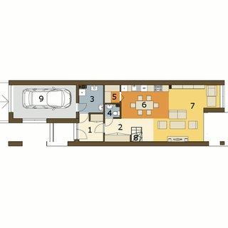 Plan parter casa ingusta cu 3 dormitoare