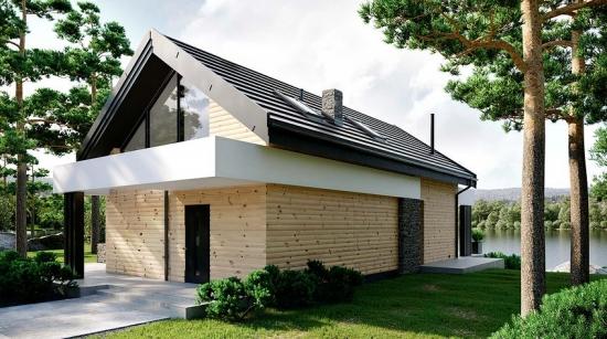 Casa cu mansarda cu acoperis din tabla gri si fatada placata cu lemn