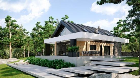 Casa cu mansarda si terasa super moderna