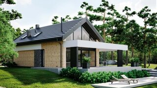 Casa moderna cu mansarda gri cu lemn
