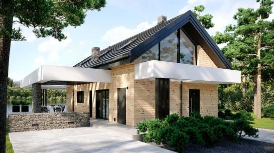Casa moderna cu pergole pe lateral