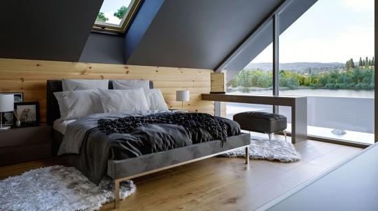 Dormitor amenajat la mansarda minimalist in nuante de gri