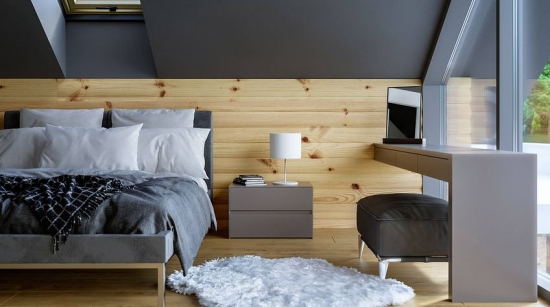 Dormitor la mansarda cu birou