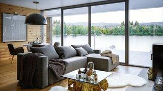 Living cu coltar gri si ferestre supradimensionate