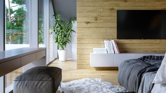 Perete in dormitor placat cu lemn