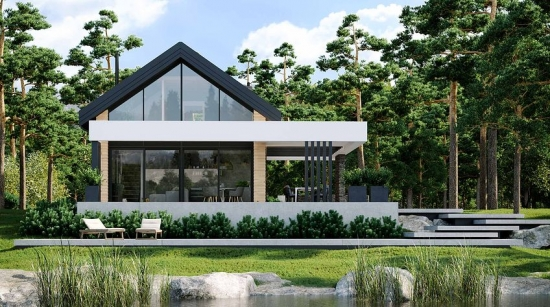 Proiect casa moderna cu ferestre foarte mari