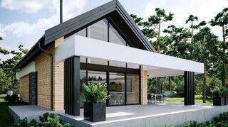 Proiect de casa cu mansarda su pergola moderna