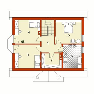 Plan mansarda casa cu 4 dormitoare si living
