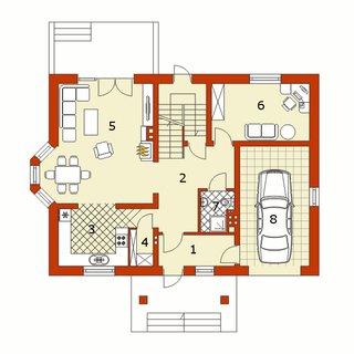 Plan parter casa amenajata pe 3 niveluri