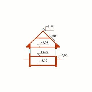 Plan vertical casa amenajata pe 3 niveluri