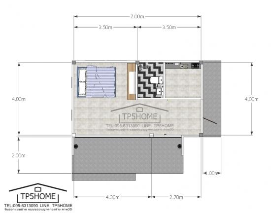 Plan casa 28 mp cu dormitor living si bucatarie