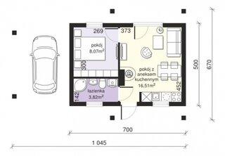 Plan casa mica 28 mp utili pentru 2 persoane