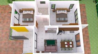 Plan 3 D compartimentare casa parter cu 2 dormitoare