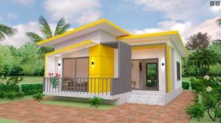 Plan de casa cu 2 camere si acoperis plat