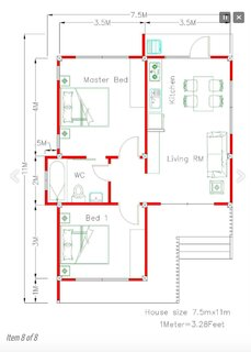 Schita casa cu 2 dormitoare