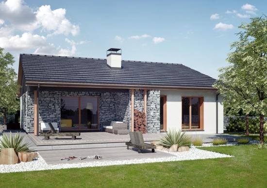 Casa rustica cu terasa acoperita