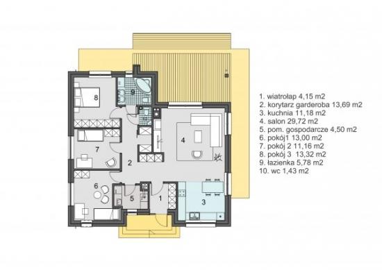 Plan parter casa rustica cu 3 dormitoare